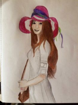 Lady wearing a big pink hat by woofinfinity