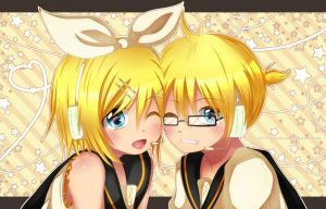Kagamine Rin and Len by Squ-chan