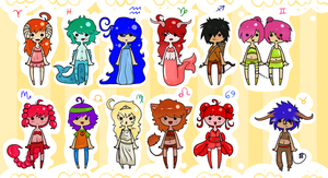 Horoscope Adoptables collab by owodoomkitty