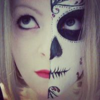 Half Sugar Skull Make up by AllMadHera