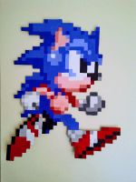 sonic LARGE pixel painting by ZeeKayArt