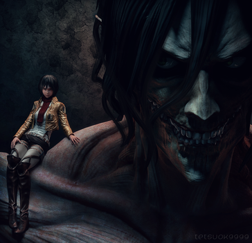 rogue Titan and Mikasa by tetsuok9999