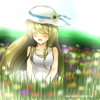 Claire in flower garden by hamu2