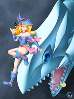 Dark magician girl . white d by Orcaleon