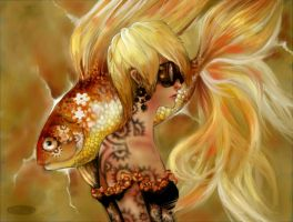 Golden Steampunk Fish by DZIU09
