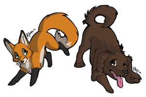 Fox and Hound Chibis by Mongrelistic