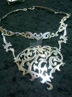 Silvered copper necklace by Gawerath