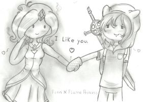 Finn and Flame Princess by LetBri