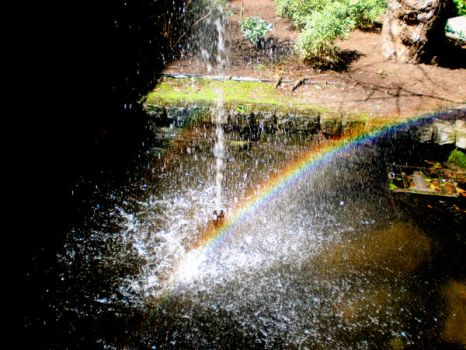 Rainbow in the Fountain by glamourful