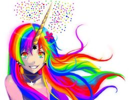 anime unicorn girl (edited) by lancylancy