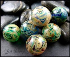 Miracle Moon Lampwork Glass Bead Set by andromeda