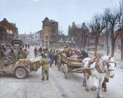 Refugees evacuating the Belgian town of Bastogne by Mygrapefruit