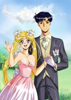 Mamoru and Usagi by Vladta