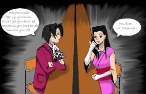 PW: Edgeworth and Iris by ammchan