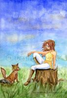 Girl and Fox by oxi-moron