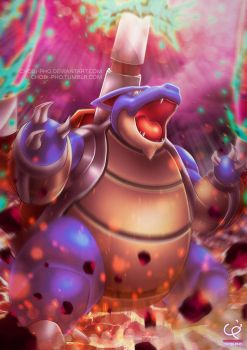 MEGA BLASTOISE!! DARK WATER DRAGON PULSE!!! by CHOBI-PHO