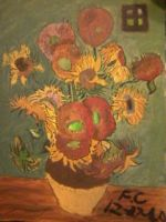 Recreation of Vincent Van Goghs Sunflowers by MsTechnoWolf