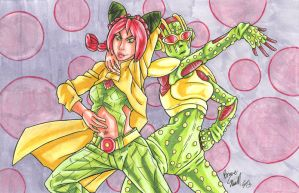 Jolyne Kujo and Stone Free by ibroussardart