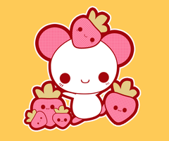 Cute mouse strawberries by anicsim2