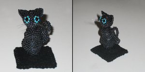 Bead Sculpted Black Kitten by Hope555