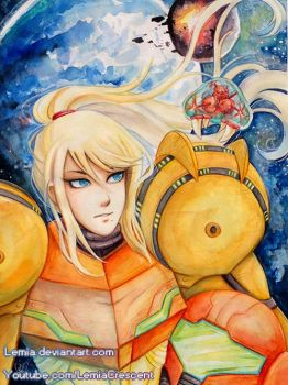 Watercolor Poster Samus Aran with Baby Metroid by LemiaCrescent