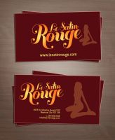 le satin rouge card and logo by sounddecor