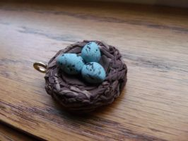 Bird nest Pendant by Hearts-at-Sea