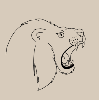 Lion Head (Linework) by Wyvernis
