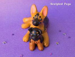 German Shepherd mama with baby by SculptedPups
