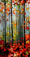 Falling leaves oil painting on canvas by L.Afremov by Leonidafremov