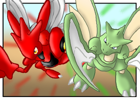 Scyther and Scizor by CosmicSprinkles