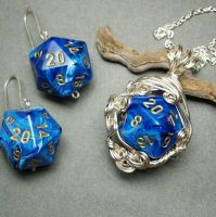 Custom Bridal D20 Dice Set in Blue and Silver by sojourncuriosities