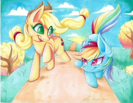 Applejack and Rainbow Dash Race by SilverDreams7