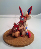 Sylveon and Eevee by Self-Eff4cing