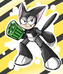 Cyborg Kuro-Chan (classic megaman style) by thegreatrouge