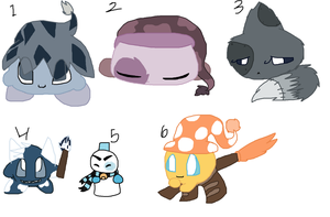 Kirby species adoptables (2 points each) by ghostiibear