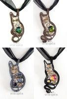 Steampunk kitty pendants enhanced version by ukapala