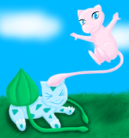 Mew vs Bulbasaur by MikariStar