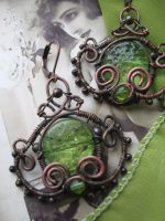 Whimsical Filigree Wire Wrapped Copper Earrings by Lirimaer86