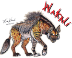 Wakali the spotted and striped hyena by Farumir