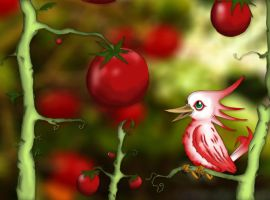 Bird and Tomatoes by TheMoonMonkey