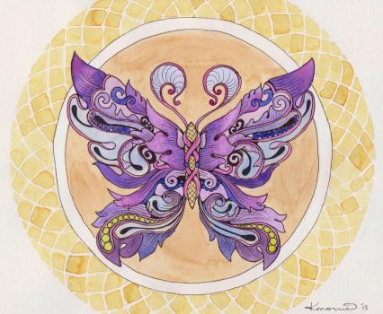 Purple and Gold Butterfly by bummblebird
