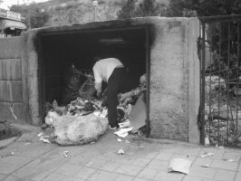 Rubbish by junkcan