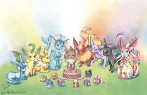 Eeveelution birthday by Spoonful0fcats