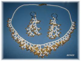 White and gold coral set by jasmin7