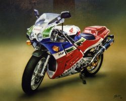 Acrylic and Pencil 'Honda by Mosz