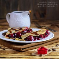 crepes with cherries and coffee caramel by Pokakulka