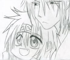 Chibi goku and Sanzo1 not mine by InLoveWithThePhantom
