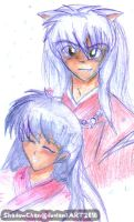 Inuyasha: Inu and Kagome by xPixieSoulx