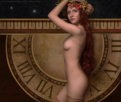 Girl with clock by GreatQueenLina